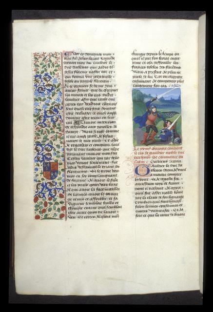Death of Gautier de Brienne from BL Royal 14 E V, f. 499v
