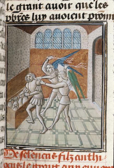 Death of Heliodorus from BL Royal 15 D I, f. 117
