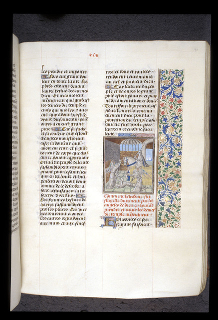 Death of Heliodorus from BL Royal 15 D I, f. 170