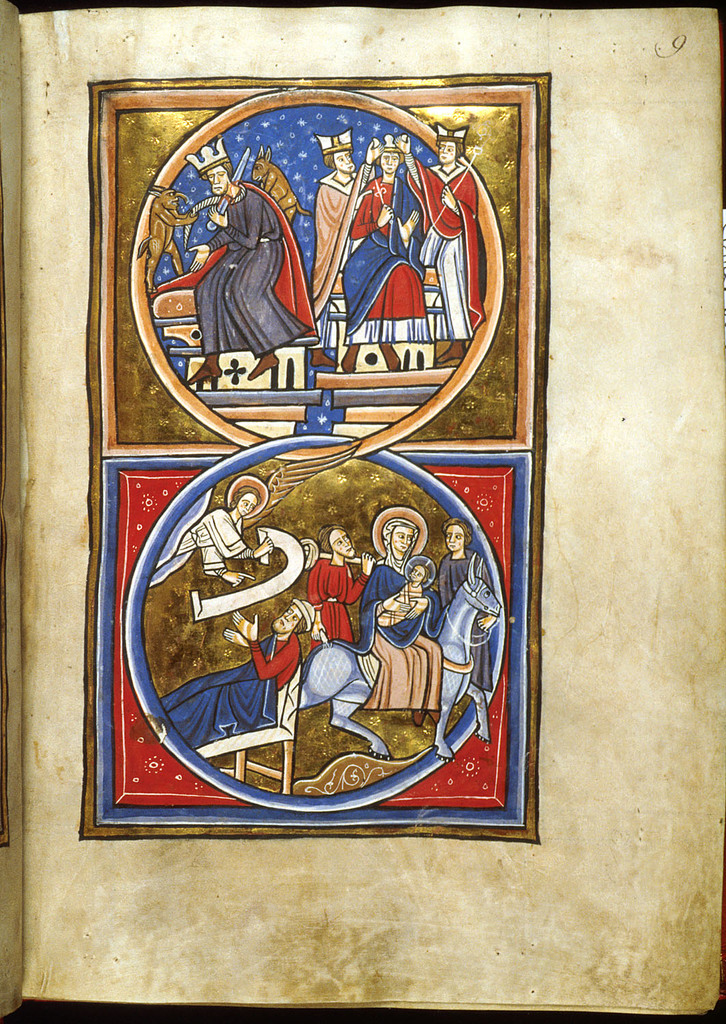 Death of Herod, Joseph's Dream from BL Lansdowne 420, f. 9