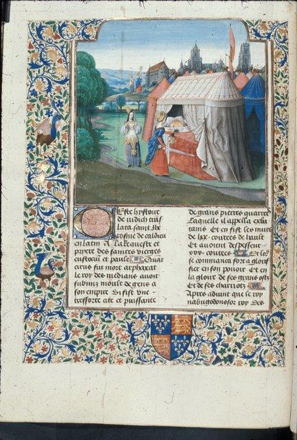 Death of Holofernes from BL Royal 15 D I, f. 66v