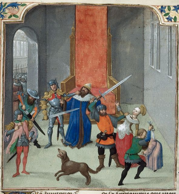 Death of Maurice from BL Royal 14 E V, f. 450