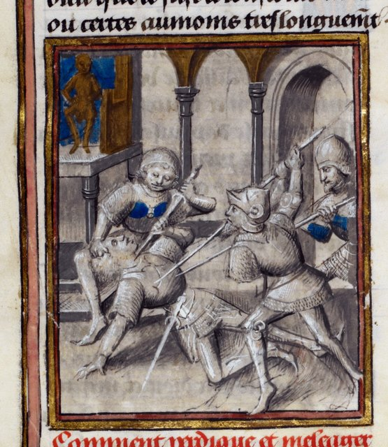 Death of Meleager from BL Royal 15 D IV, f. 218v
