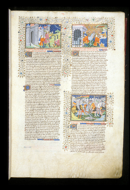 Death of Nectanebus, Alexander and Bucephalus; victory over Nicolaus from BL Royal 15 E VI, f. 7