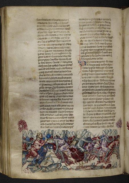 Death of Paris from BL Royal 20 D I, f. 150v