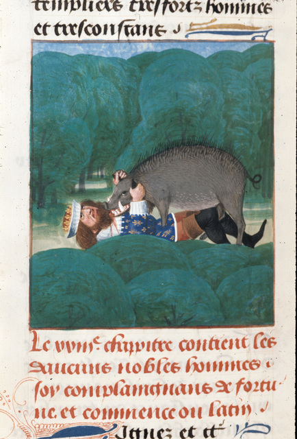 Death of Philip the Fair from BL Royal 14 E V, f. 497v