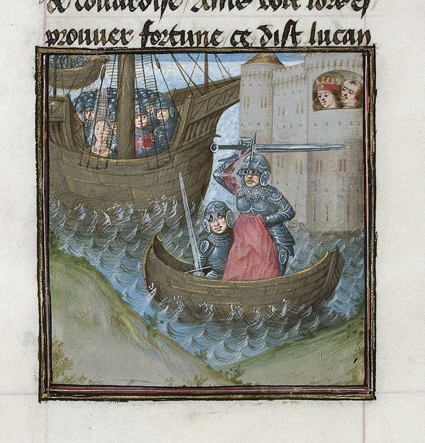 Death of Pompey from BL Royal 16 G VIII, f. 310v