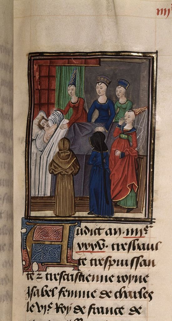 Death of queen Isabella from BL Royal 20 C IX, f. 96