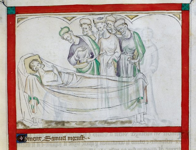 Death of Samuel from BL Royal 2 B VII, f. 53