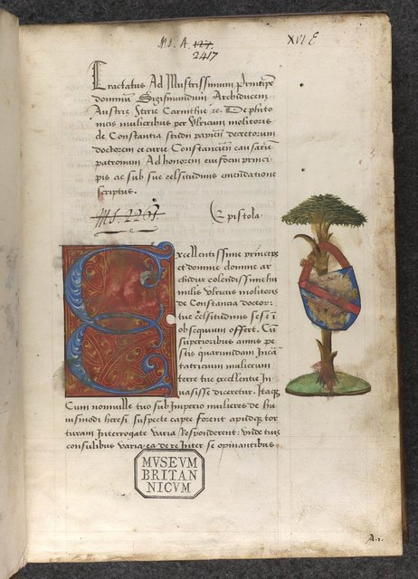 Decorated initial and Heraldic arms from BL Sloane 2417, f. 2