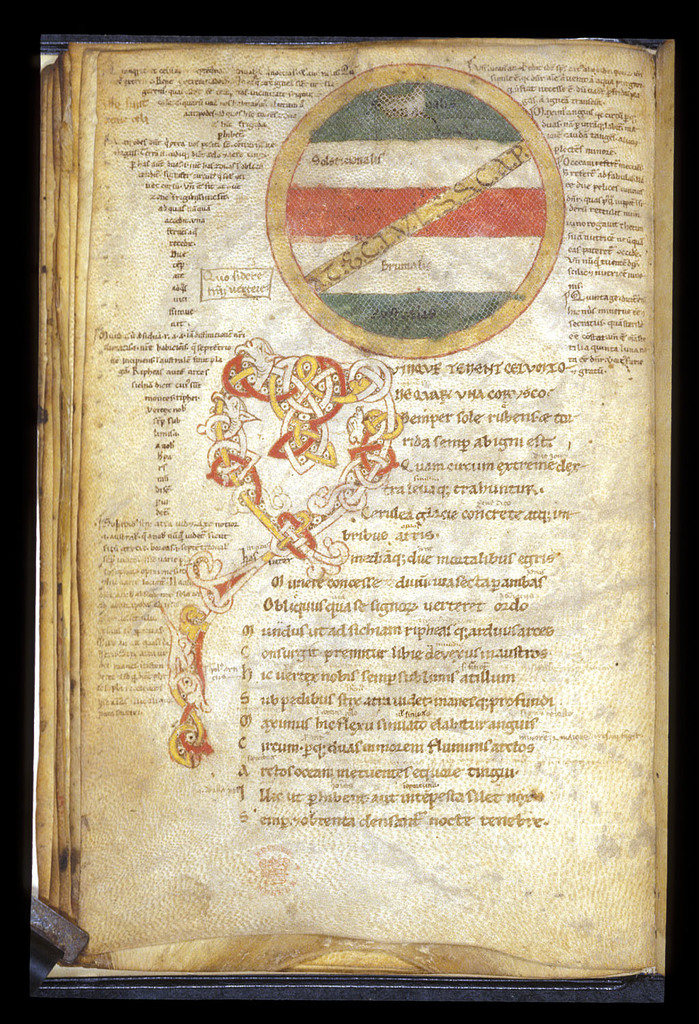 Decorated initial and map from BL Harley 2533, f. 18v