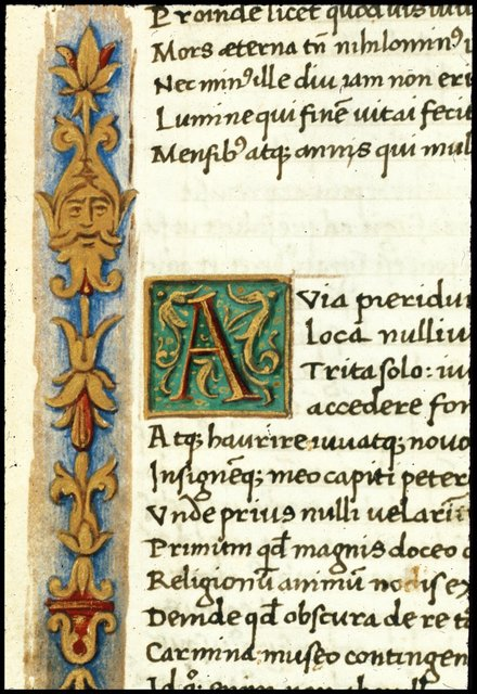 Decorated initial from BL Harley 2694, f. 62v