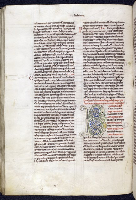 Decorated initial from BL Harley 2799, f. 150v