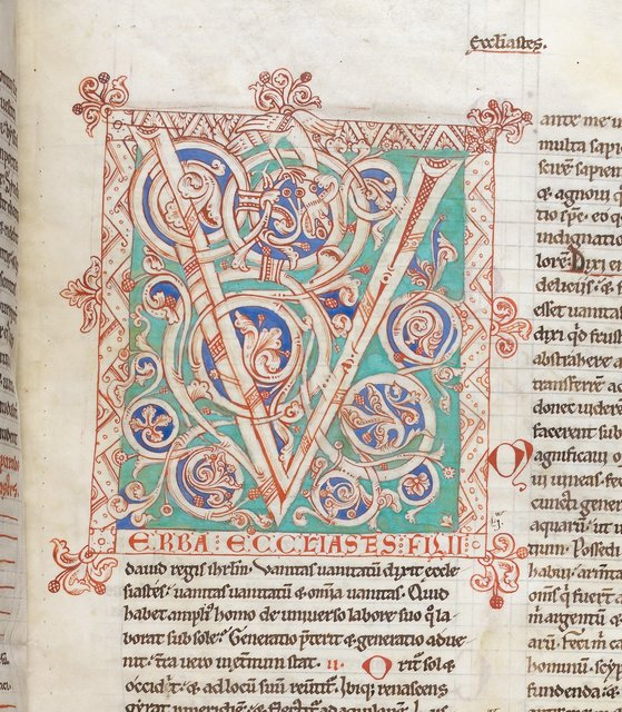 Decorated initial from BL Harley 2799, f. 65