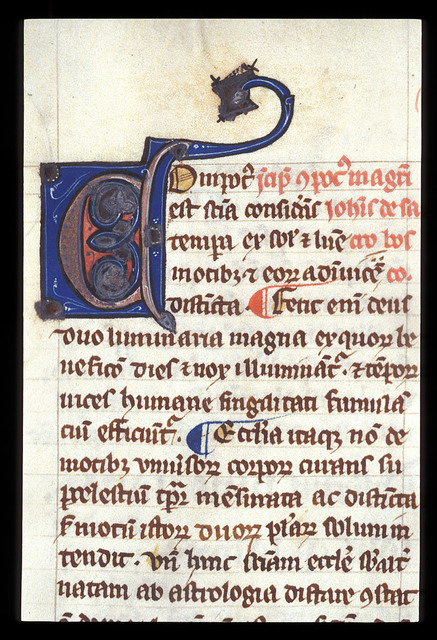 Decorated initial from BL Harley 3735, f. 27v