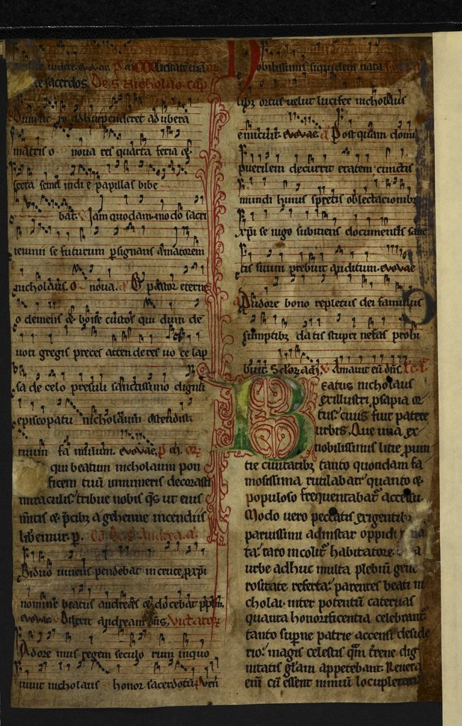 Decorated initial from BL Harley 5958, f. 19v