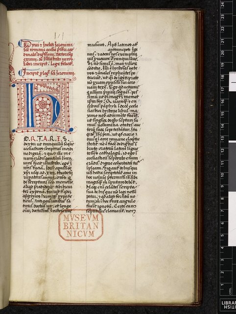 Decorated initial from BL Harley 6503, f. 1