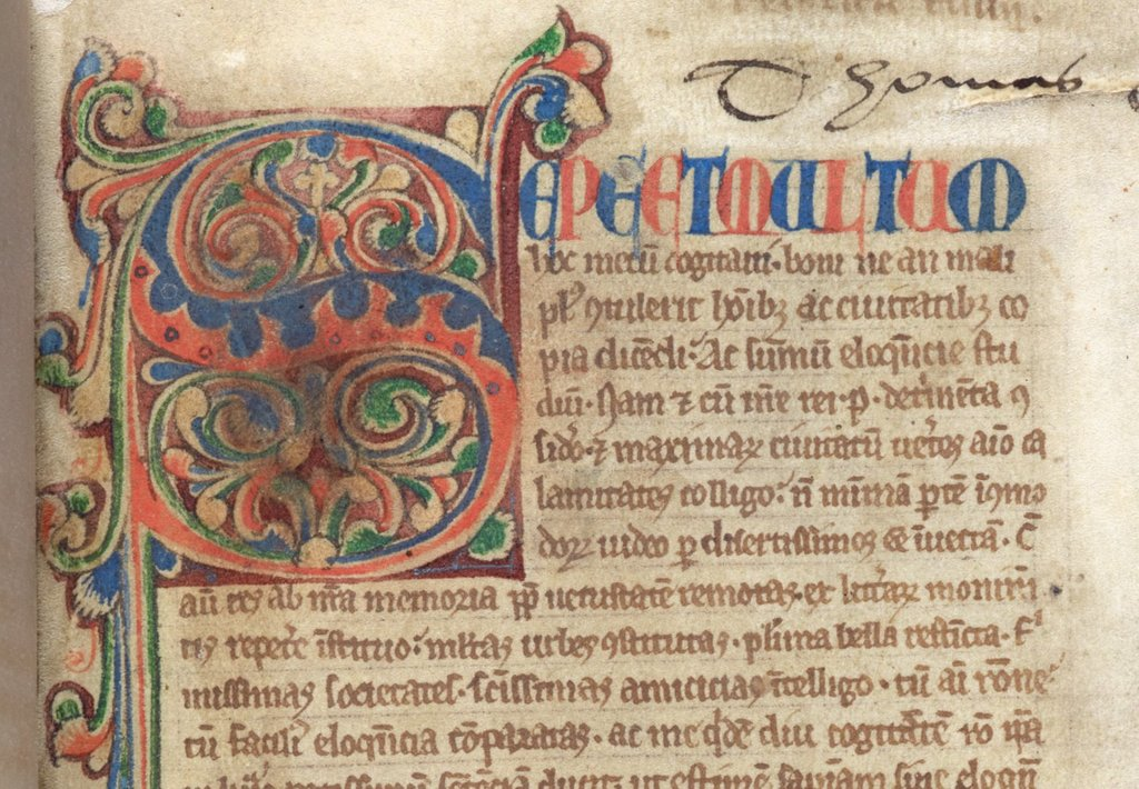 Decorated initial from BL Royal 15 A XXVI, f. 1