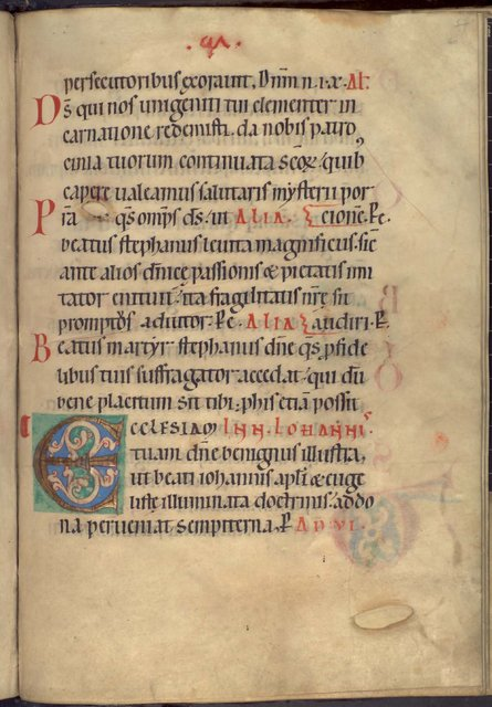 Decorated initial from BL YT 2, f. 60