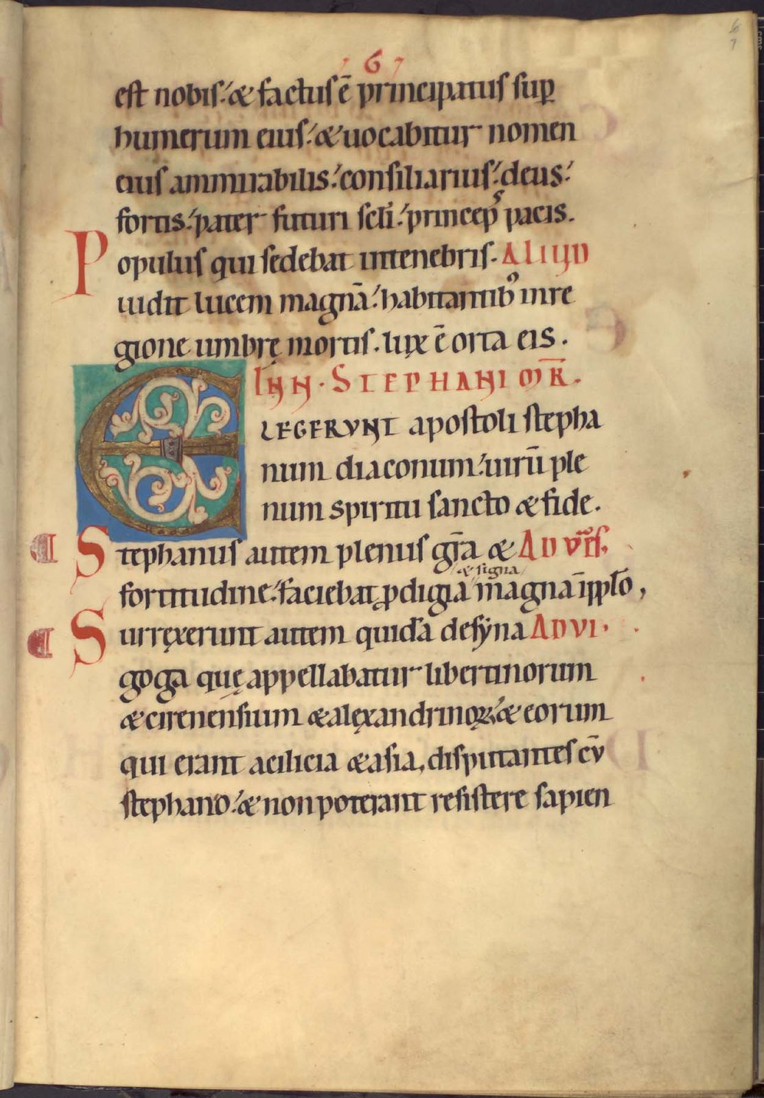 Decorated initial from BL YT 2, f. 7