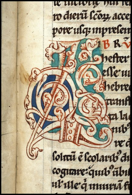 Decorated initials from BL Harley 2799, f. 128