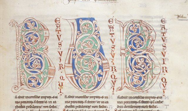 Decorated initials from BL Harley 2799, f. 5