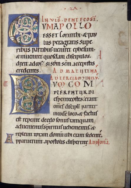 Decorated initials from BL YT 2, f. 28