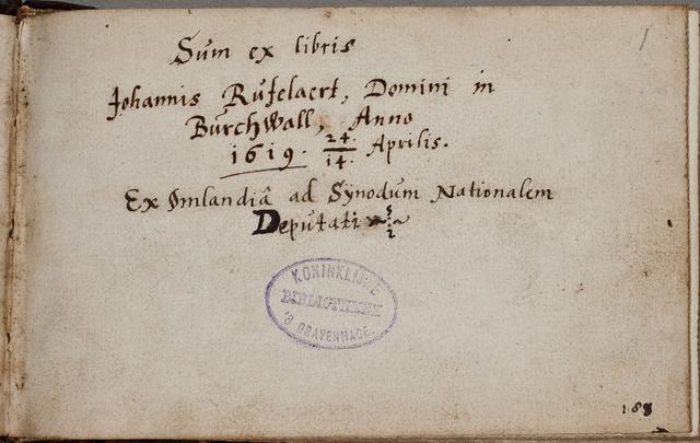 Dedicatie van zijn album amicorum / Johannes Rufelaert (-1621), edelman