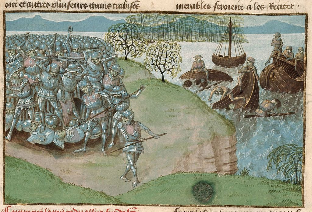 Defeat of Cadwal from BL Royal 15 E IV, f. 180
