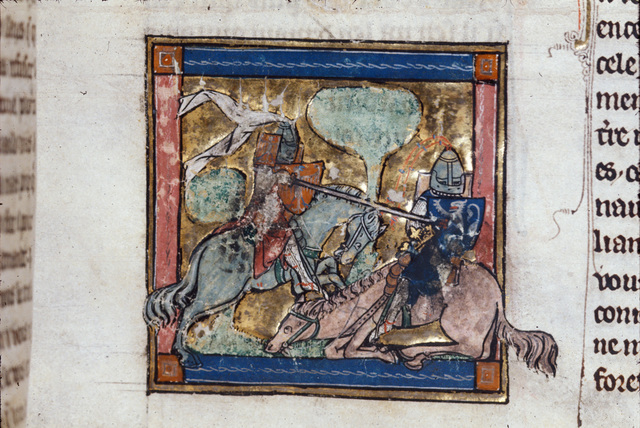 Defeat of Sir Melyas from BL Royal 14 E III, f. 96