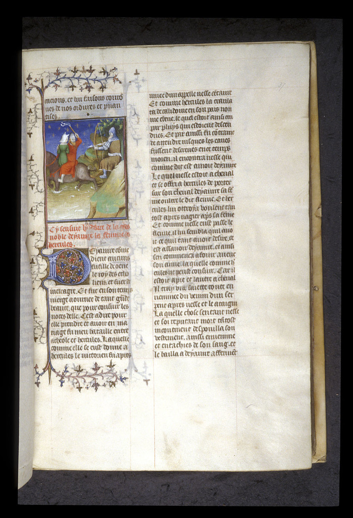 Deianira and Nessus crossing a river from BL Royal 20 C V, f. 37