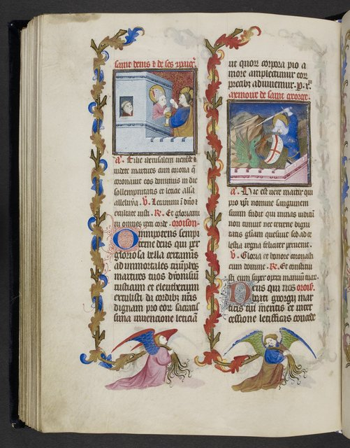 Denis and George from BL Eg 1070, f. 90v