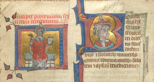 Detail: Miniature and historiated initial from BL Arundel 443, f. 1