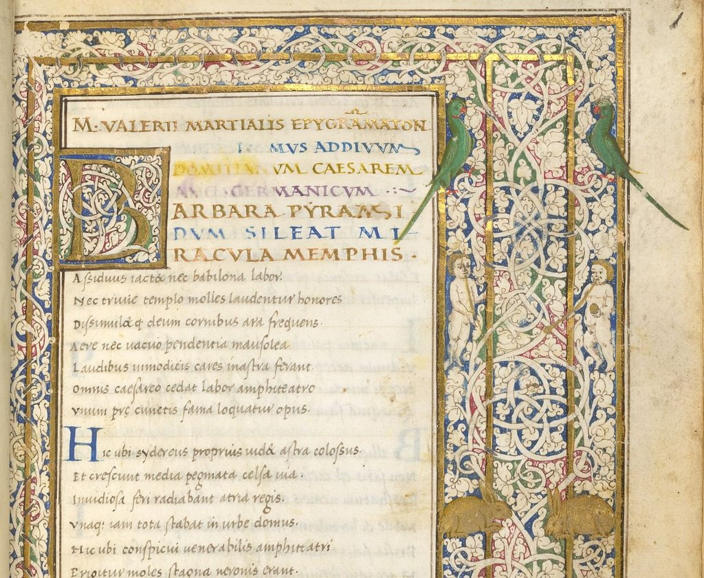 Detail of initial and border from BL Lansdowne 837, f. 1
