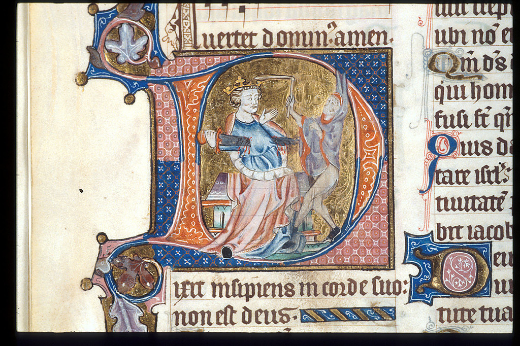 Detail of the historiated initial 'D'(ixit) with David and .. from BL Arundel 83, f. 40v