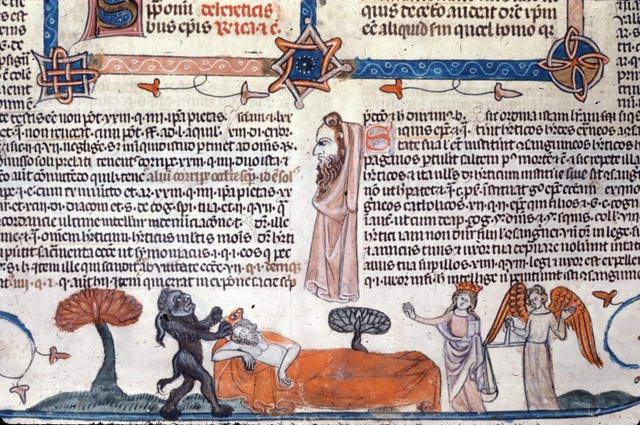 Devil and Virgin vying over a soul from BL Royal 10 E IV, f. 266v