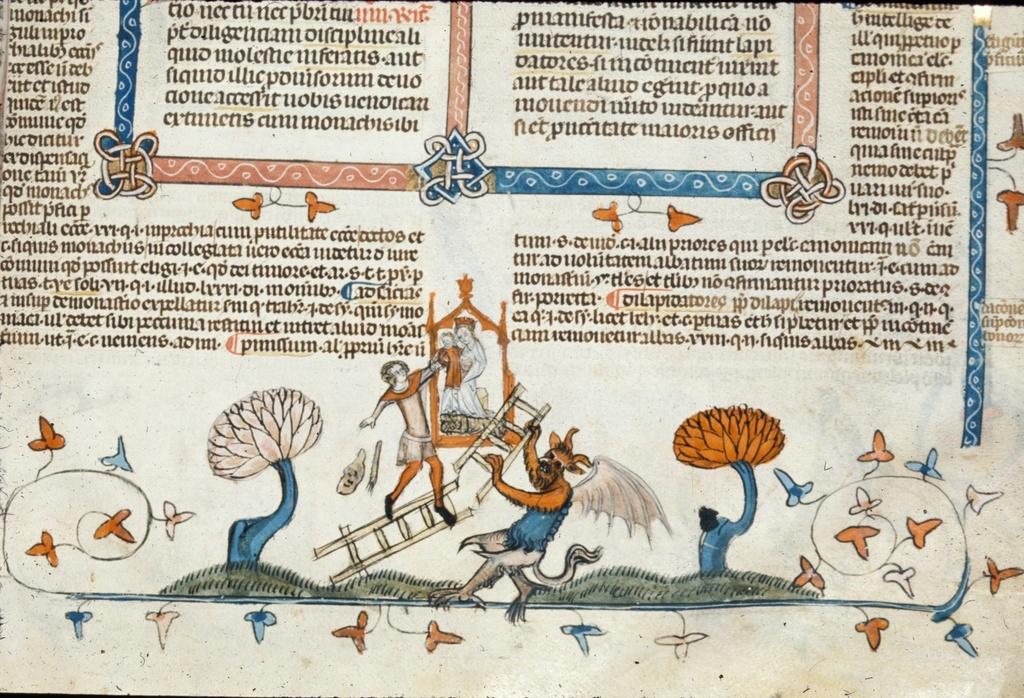 Devil breaking a ladder from BL Royal 10 E IV, f. 210