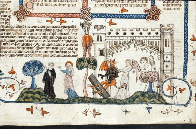Devil in stocks from BL Royal 10 E IV, f. 223