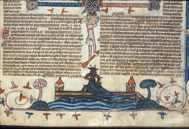Devil pushing a nun off a bridge from BL Royal 10 E IV, f. 192