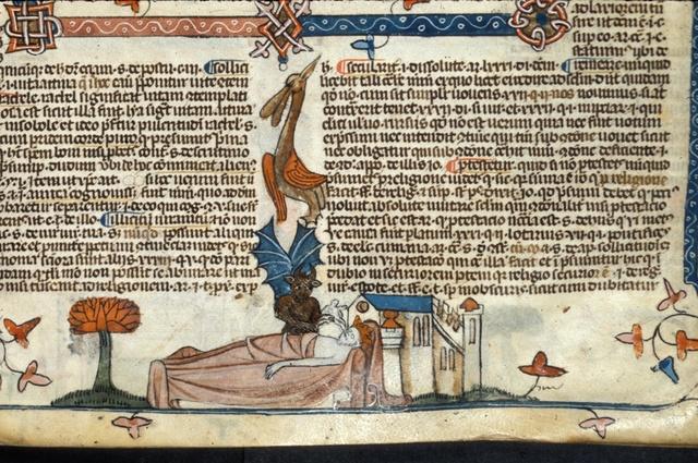 Devil receiving a king's soul from BL Royal 10 E IV, f. 204