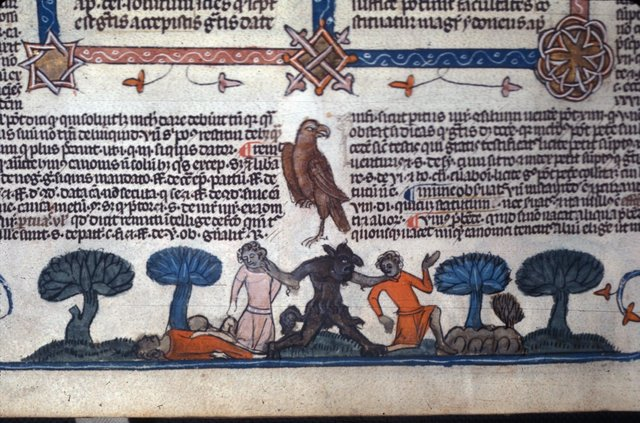 Devil seizing men from BL Royal 10 E IV, f. 263v