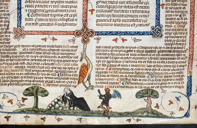 Devil tempting a sleeping monk from BL Royal 10 E IV, f. 221