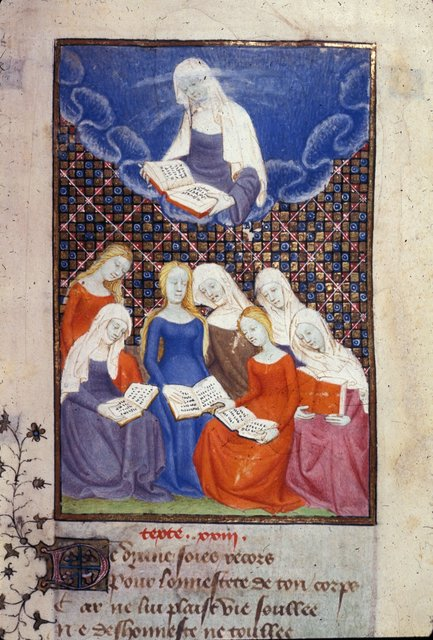 Diana reading from BL Harley 4431, f. 107