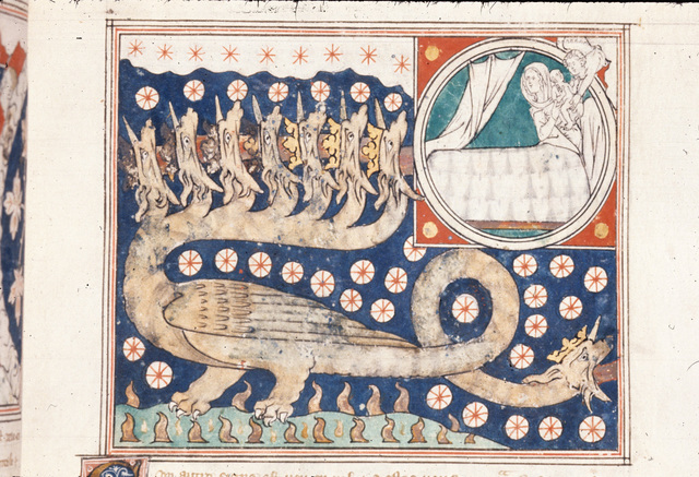 Dragon and woman in bed from BL Royal 19 B XV, f. 21