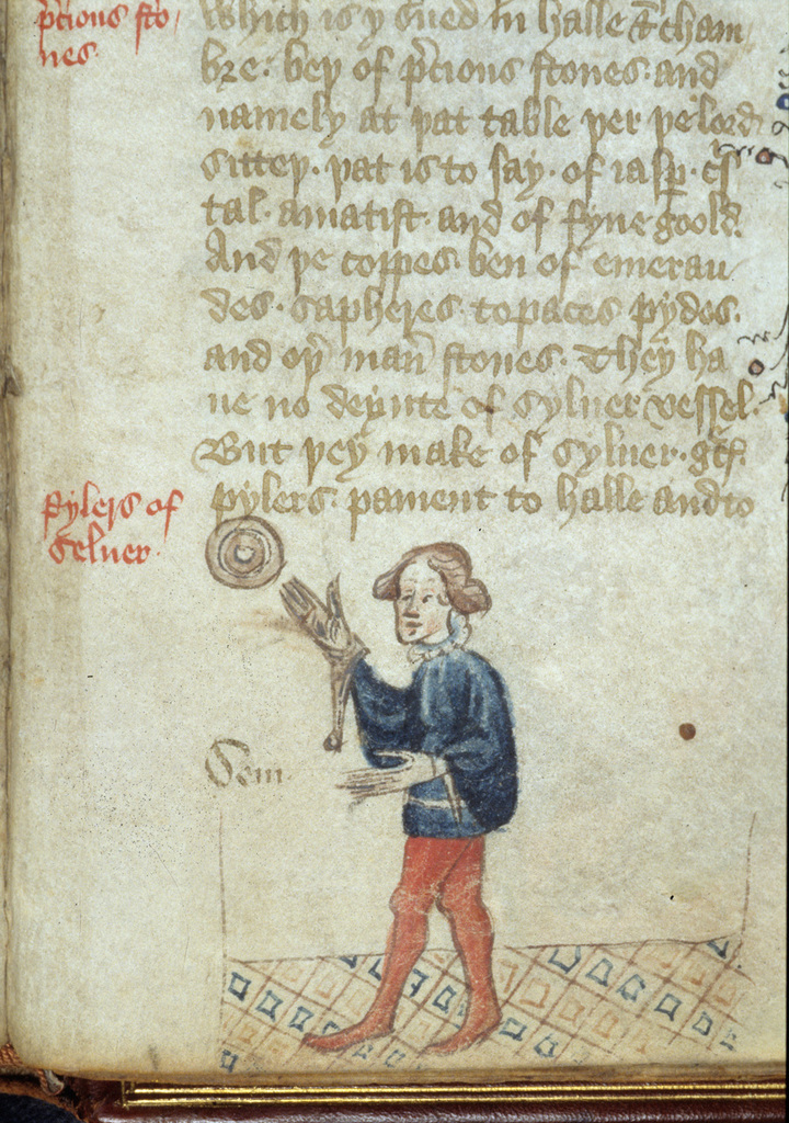 Drawing of a man from BL Royal 17 C XXXVIII, f. 46