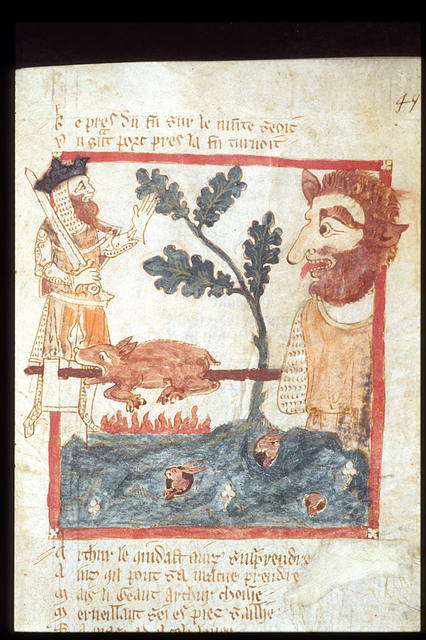 Drawing of king Arthur finding a giant roasting a pig. from BL Eg 3028, f. 49