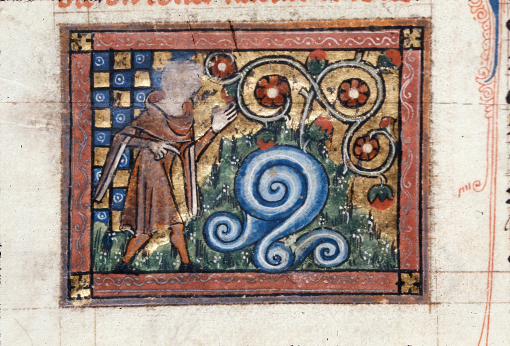 Dreamer at the fountain from BL Royal 20 A XVII, f. 15v
