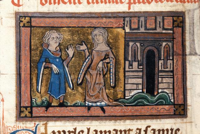 Dreamer talking to Bel-Acoeil from BL Royal 20 A XVII, f. 120v