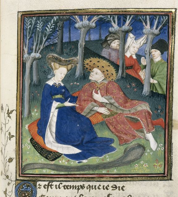 Duke of True Love and companions from BL Harley 4431, f. 145