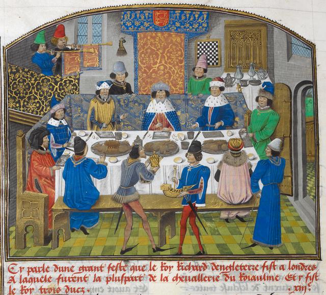 Dukes of York, Gloucester and Ireland from BL Royal 14 E IV, f. 265v